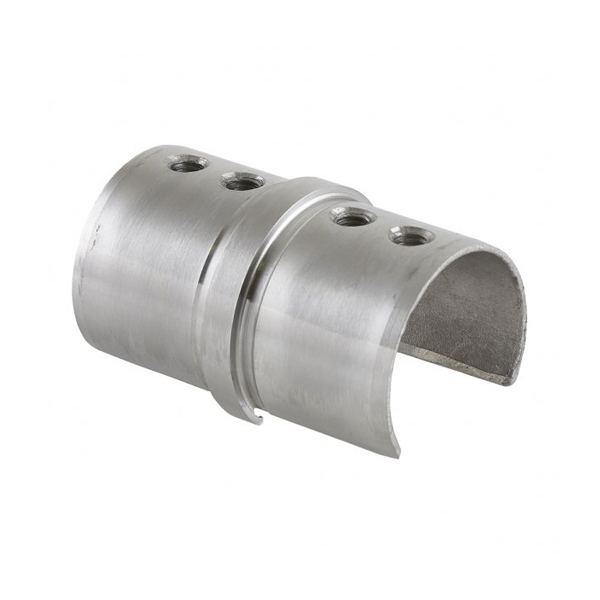 Stainless Steel In-Line Tube Connector for Ø 42.4mm Slotted Handrail