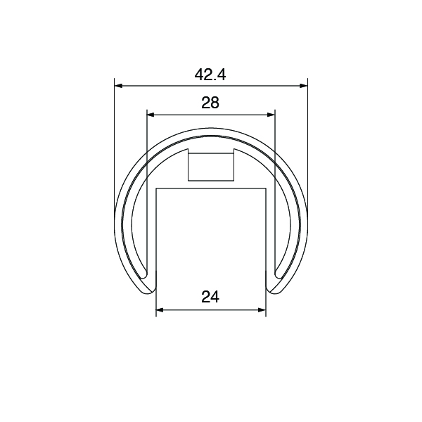 Technical Spec for Stainless Steel In-Line Tube Connector, Suits Ø 42.4mm Slotted Handrail