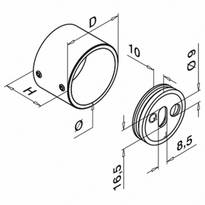 Technical Drawing of Grade 316 Stainless Steel Wall Flange for Handrail and Slotted Handrail