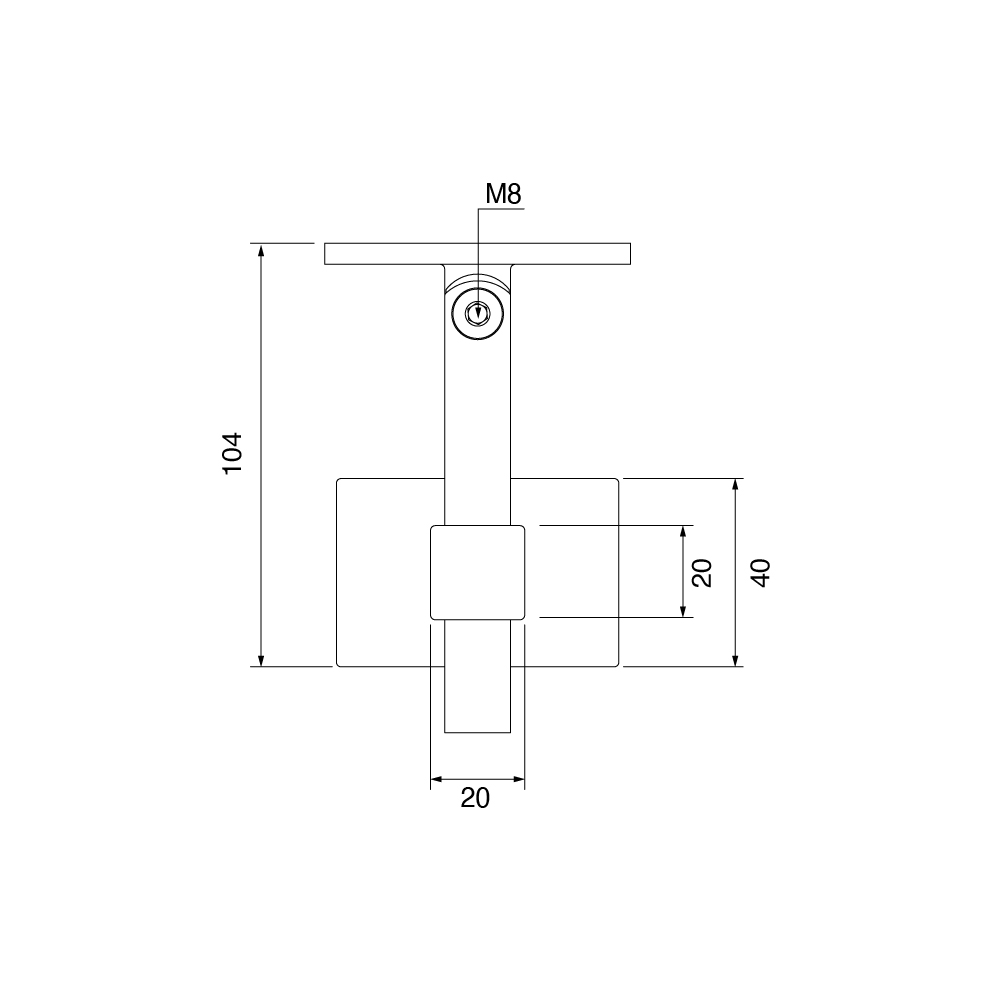 Technical Drawing for Stainless Steel Square Handrail Bracket